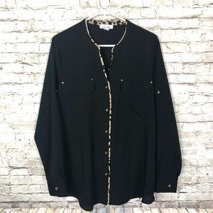 Calvin Klein cheetah trim black button up shirt